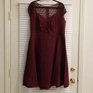 Retro burgandy sweetheart neckline midi dress